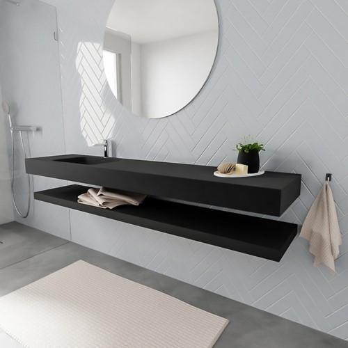 ALAN badmeubel 200 solid suface planchet urban vrijhangend wastafel links 1 kraangat zwart
