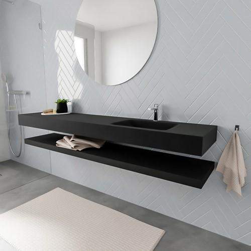 ALAN badmeubel 200 solid suface planchet urban vrijhangend wastafel rechts 1 kraangat zwart