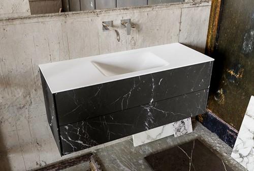 KIVI 120 badmeubel black 2 lades wastafel midden zonder kraangat