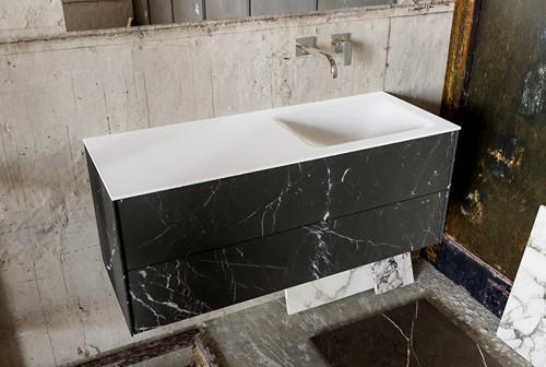 KIVI 120 badmeubel black 2 lades wastafel rechts zonder kraangat