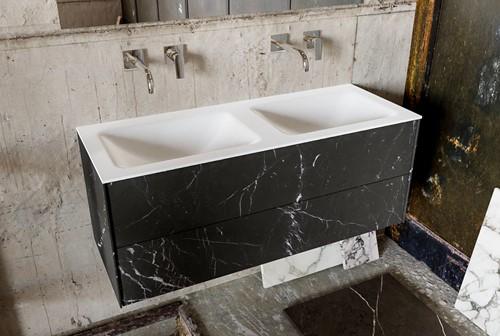 KIVI 120 badmeubel black 2 lades wastafel dubbel zonder kraangat