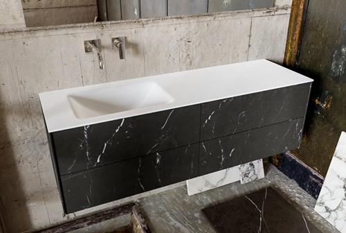 KIVI 150 badmeubel black 4 lades wastafel links zonder kraangat