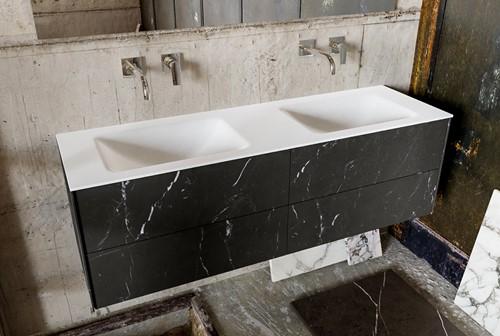 KIVI 150 badmeubel black 4 lades wastafel dubbel zonder kraangat