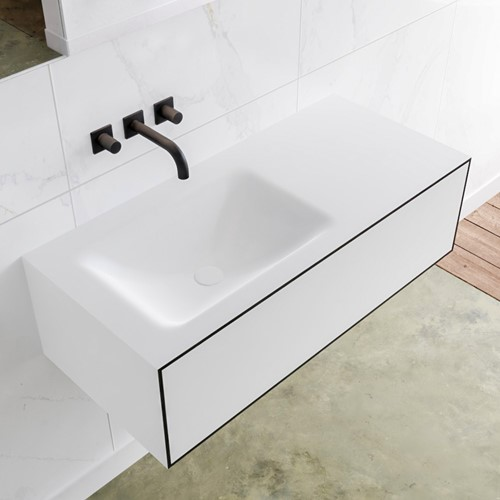 LAGOM 100 badmeubel solid surface urban 1 lade CLOUD links 0 kraangaten