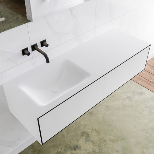 LAGOM 130 badmeubel solid surface urban 2 lades CLOUD links 0 kraangaten