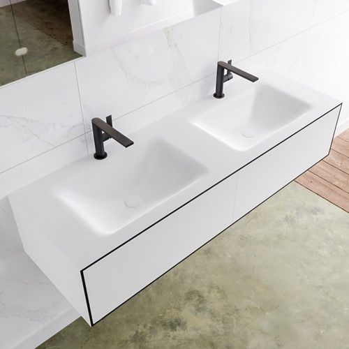 LAGOM 140 badmeubel solid surface urban 2 lades CLOUD dubbel 2 kraangaten