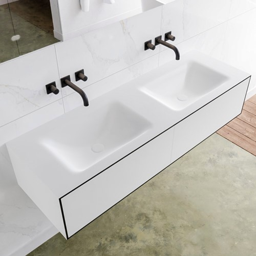 LAGOM 140 badmeubel solid surface urban 2 lades CLOUD dubbel 0 kraangaten