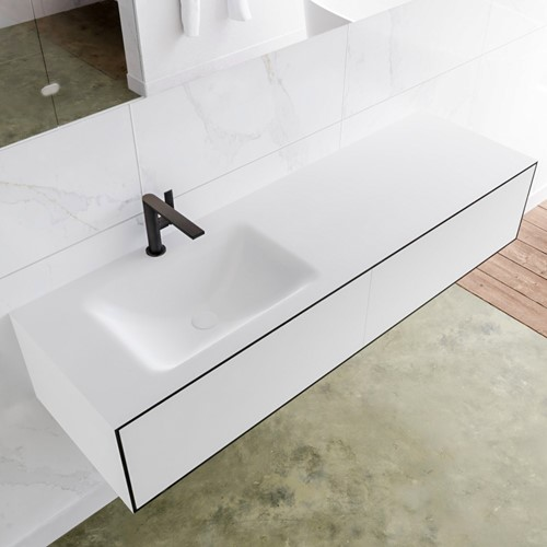 LAGOM 150 badmeubel solid surface urban 2 lades CLOUD links 1 kraangat