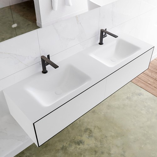 LAGOM 150 badmeubel solid surface urban 2 lades CLOUD dubbel 2 kraangaten