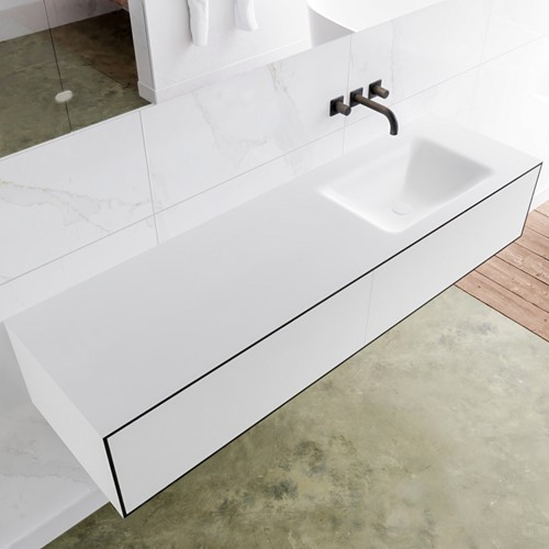 LAGOM 160 badmeubel solid surface urban 2 lades CLOUD rechts 0 kraangaten