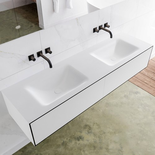 LAGOM 160 badmeubel solid surface urban 2 lades CLOUD dubbel 0 kraangaten
