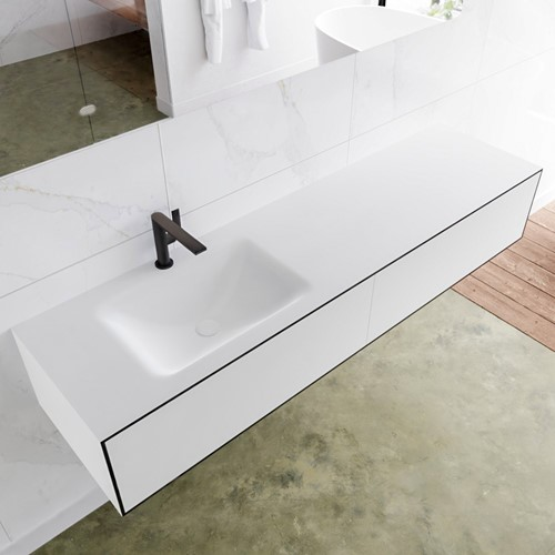 LAGOM 170 badmeubel solid surface urban 2 lades CLOUD links 1 kraangat