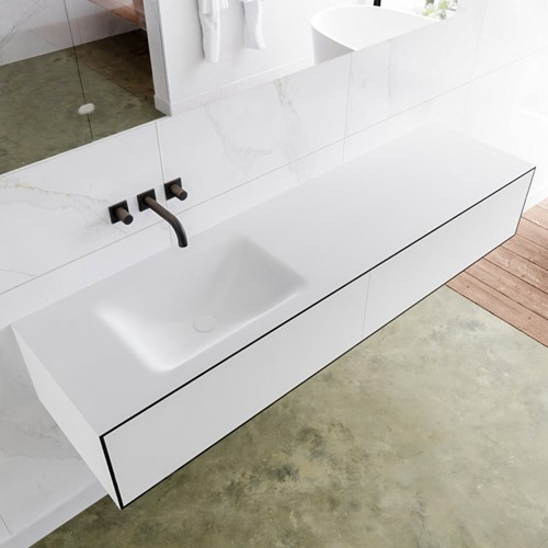 LAGOM 170 badmeubel solid surface urban 2 lades CLOUD links 0 kraangaten