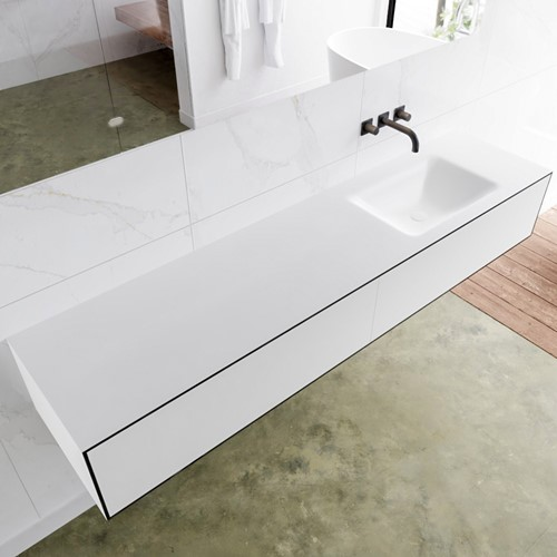 LAGOM 190 badmeubel solid surface urban 2 lades CLOUD rechts 0 kraangaten