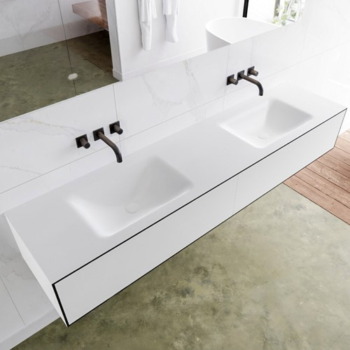 LAGOM 190 badmeubel solid surface urban 2 lades CLOUD dubbel 0 kraangaten