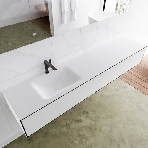 LAGOM 200 badmeubel solid surface urban 2 lades CLOUD links 1 kraangat