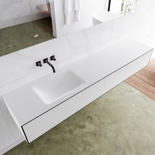 LAGOM 200 badmeubel solid surface urban 2 lades CLOUD links 0 kraangaten