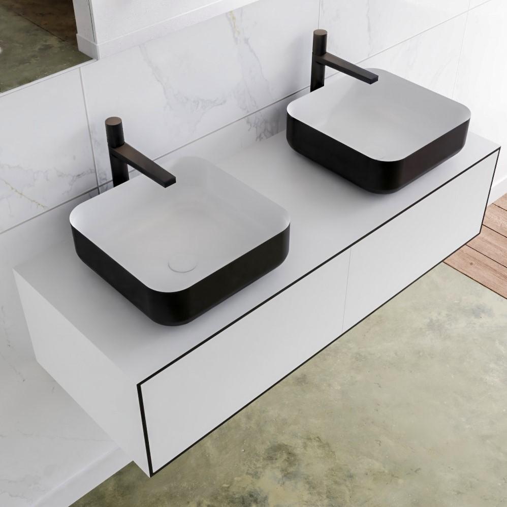 waskom zwart met onderkast met 2 lades solid surface