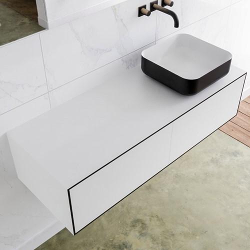 LAGOM 120 badmeubel solid surface urban 2 lades BINX rechts 0 kraangaten