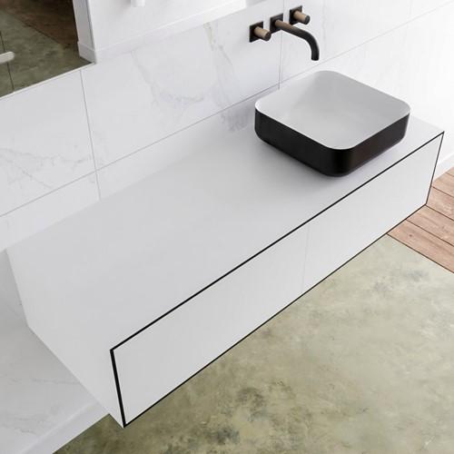 LAGOM 130 badmeubel solid surface urban 2 lades BINX rechts 0 kraangaten