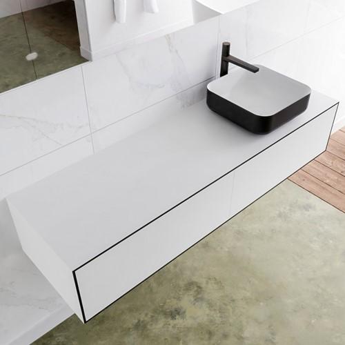 LAGOM 150 badmeubel solid surface urban 2 lades BINX rechts 1 kraangat