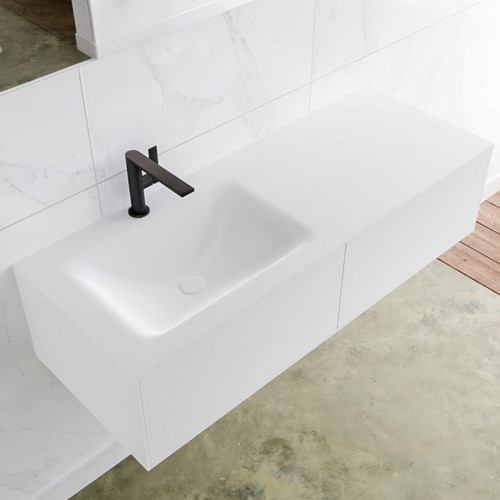 LAGOM 120 badmeubel solid surface talc 2 lades CLOUD links 1 kraangat