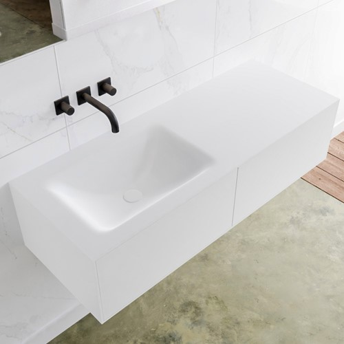 LAGOM 120 badmeubel solid surface talc 2 lades CLOUD links 0 kraangaten
