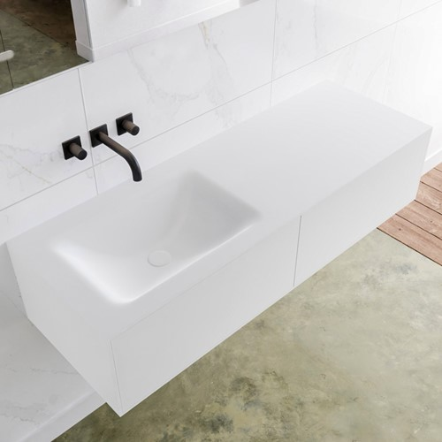 LAGOM 130 badmeubel solid surface talc 2 lades CLOUD links 0 kraangaten