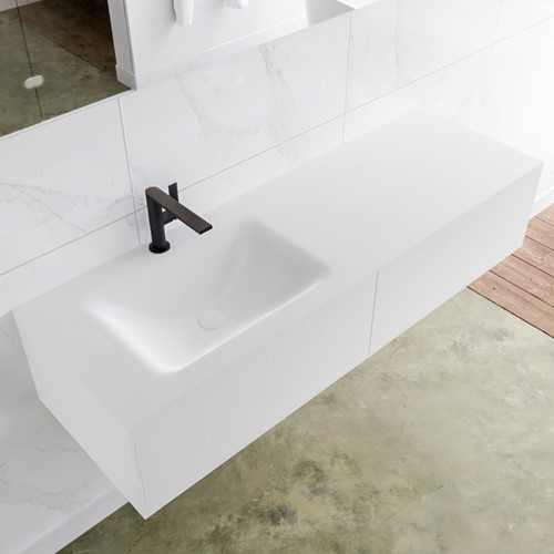 LAGOM 140 badmeubel solid surface talc 2 lades CLOUD links 1 kraangat