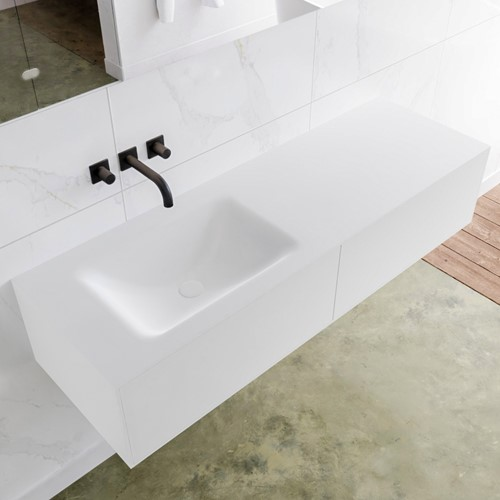 LAGOM 140 badmeubel solid surface talc 2 lades CLOUD links 0 kraangaten