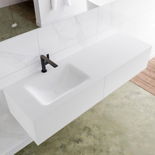 LAGOM 150 badmeubel solid surface talc 2 lades CLOUD links 1 kraangat
