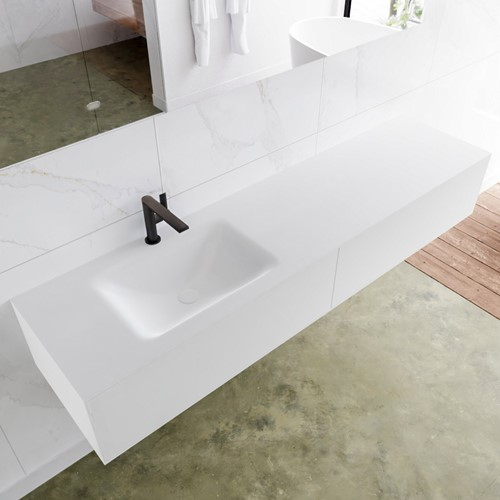LAGOM 180 badmeubel solid surface talc 2 lades CLOUD links 1 kraangat