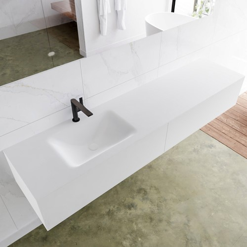 LAGOM 190 badmeubel solid surface talc 2 lades CLOUD links 1 kraangat