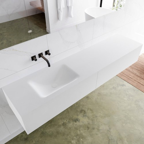 LAGOM 190 badmeubel solid surface talc 2 lades CLOUD links 0 kraangaten