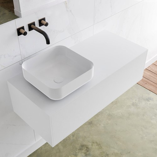 LAGOM 100 badmeubel solid surface talc 1 lades BINX links 0 kraangaten