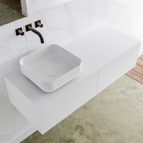 LAGOM 120 badmeubel solid surface talc 2 lades BINX links 0 kraangaten