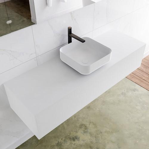 LAGOM 140 badmeubel solid surface talc 1 lades BINX midden 1 kraangat