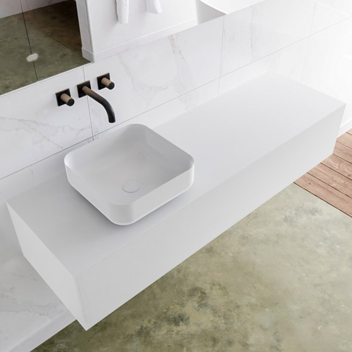 LAGOM 150 badmeubel solid surface talc 1 lades BINX links 0 kraangaten