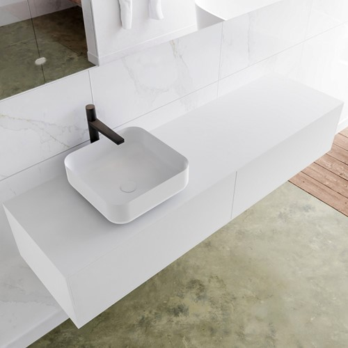 LAGOM 160 badmeubel solid surface talc 2 lades BINX links 1 kraangat