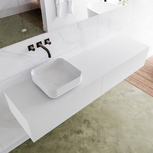 LAGOM 170 badmeubel solid surface talc 2 lades BINX links 0 kraangaten