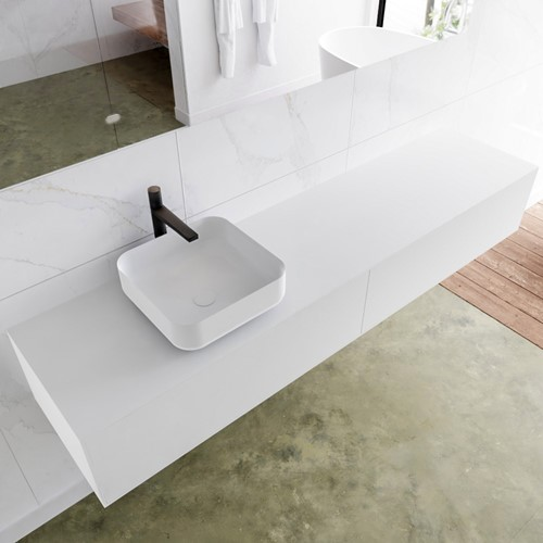 LAGOM 190 badmeubel solid surface talc 2 lades BINX links 1 kraangat