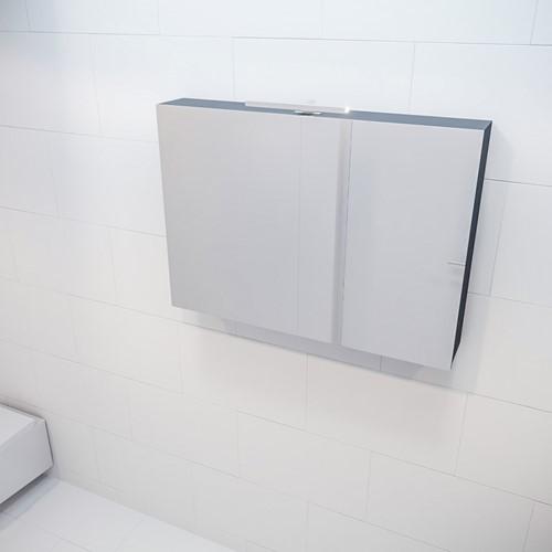 CUBB spiegelkast 100x70x16cm kleur dark grey met 2 deuren