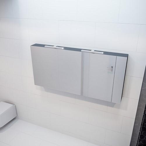CUBB spiegelkast 150x70x16cm kleur dark grey met 3 deuren