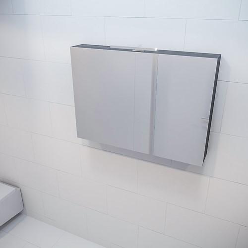 CUBB spiegelkast 100x70x16cm kleur dark brown met 2 deuren