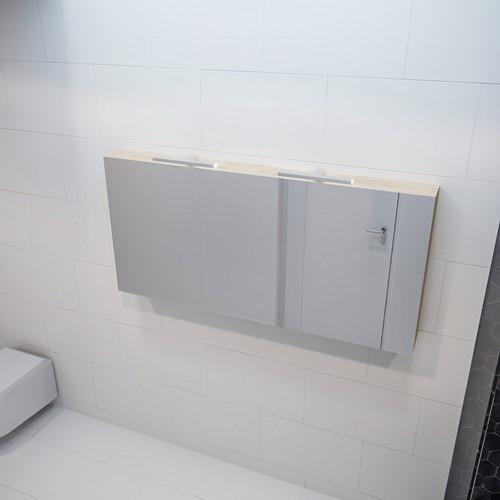 CUBB spiegelkast 150x70x16cm kleur washed oak met 3 deuren