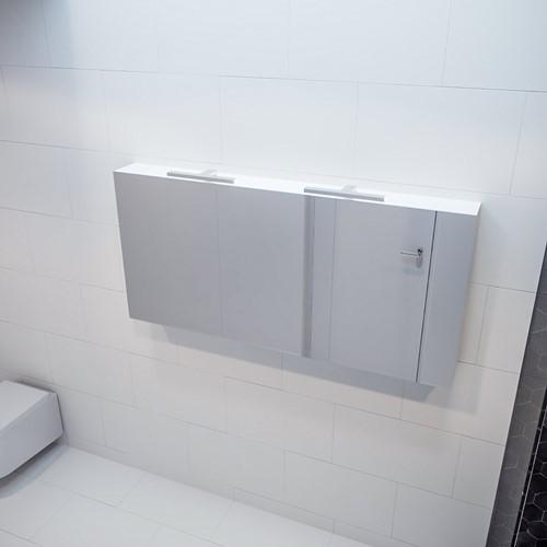 CUBB spiegelkast 150x70x16cm kleur talc met 3 deuren