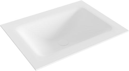 CLOUD Talc solid surface inbouw wastafel 61cm Positie wasbak midden