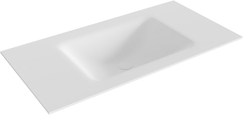 CLOUD Talc solid surface inbouw wastafel 91cm Positie wasbak midden