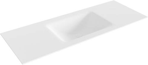 CLOUD Talc solid surface inbouw wastafel 121cm Positie wasbak midden