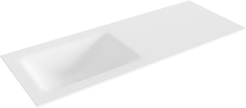 CLOUD Talc solid surface inbouw wastafel 121cm Positie wasbak links
